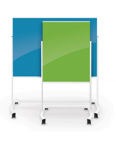 74965-Blue Visionary Move Colors Mobile Magnetic Glass Board 4'H x 3'W