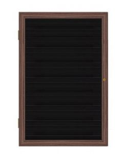 Wood Frame Walnut Finish Enclosed Flannel Letterboard